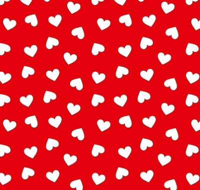 Tecido Tricoline Estampa Coração Branco (Fundo Vermelho) - Corte Mínimo de 50 cm x 150 cm