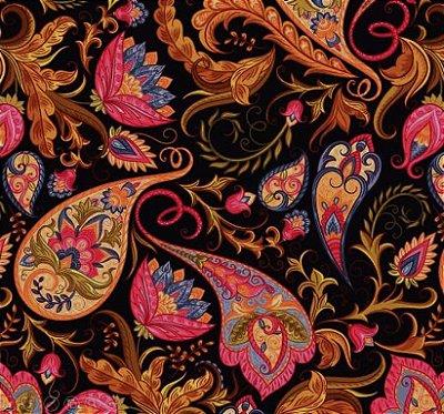 Tecido Digital Cashmere e Floral - Fundo Preto - Preto de  50cm x 150cm