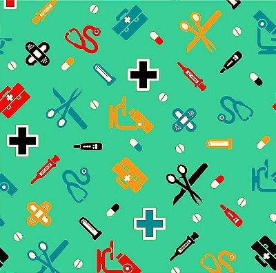 TecidoTricoline Enfermagem e Médico - Fundo Verde - Preço de 50 cm x 150 cm