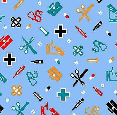 Tecido Tricoline Enfermagem e Médico - Fundo Azul -Preço de 50 cm x 150 cm)