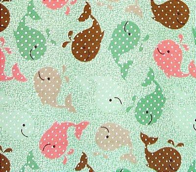 Tecido Tricoline Estampa Baleinha c/ Poá (Fundo Verde) - Corte Mínimo de 50 cm x 150 cm