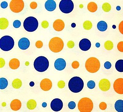 Tecido Tricoline Estampa Bolas Coloridas - Marinho e Laranja - Corte Mínimo 50cm x 150cm