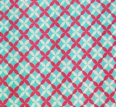 Tecido Tricoline Estampa Michele- Fundo Azul (Listra Branca e Rosa) - Corte Mínimo 50cm x 150cm