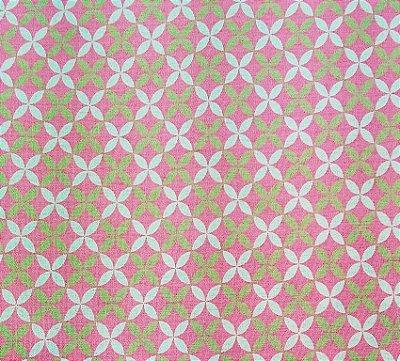 Tecido Tricoline Estampa Michele - Fundo Rosa (Listra Verde e Branca) - Corte Mínimo 50cm x 150cm