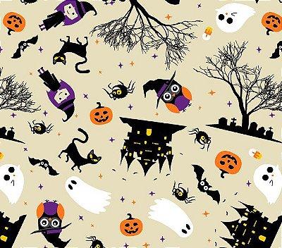 Tecido Tricoline Bruxas, Abóboras, Castelo, Árvore, Fantasma e Gato - Preço de 50cm x 146cm