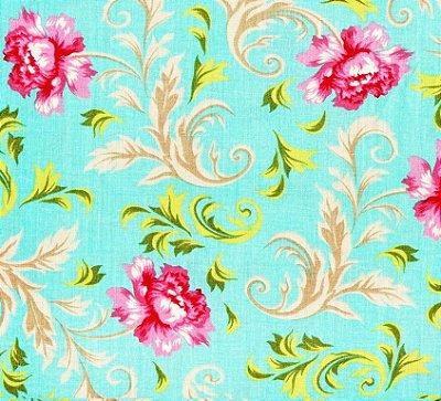 Tecido Tricoline Estampado Floral Lavanda (Fundo Tiffany) - Corte Mínimo de  50 cm x 150 cm