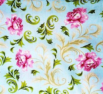 Tecido Tricoline Estampado Floral Lavanda (Fundo Azul) - Corte Mínimo de  50 cm x 150 cm