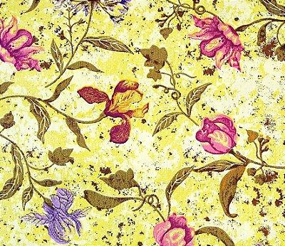 Tecido Tricoline Estampado Floral Efeito (Fundo Mostarda) - Corte Mínimo de  50 cm x 150 cm
