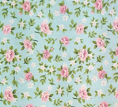 Tecido Tricoline Estampa Floral Lúcia de Rosinhas (Fundo Tiffany) - Corte Mínimo de  50 cm x 150 cm