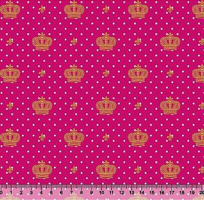 Tecido Tricoline  Estampa Coroa Dourada c/ Poá Branco e Fundo Pink - 50 cm X 150 cm