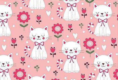 Tecido Tricoline  Gato e Flores (Fundo Rosa) - Corte Mínimo de 50 cm X 150 cm