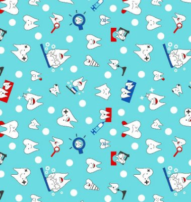 Tecido Tricoline Dentinhos (Fundo Azul) - Corte Mínimo de 50 cm x 150 cm