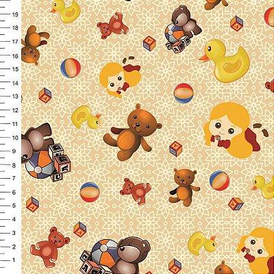 Tecido Digital Urso e Brinquedos - Corte Mínimo 50cm x 150cm