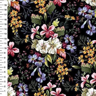 Tecido Digital Estampa Floral (Fundo Preto) - Preço de 50 cm x 150 cm