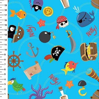 Tecido Digital Piratas (Fundo Azul) - 50 cm x 150 cm
