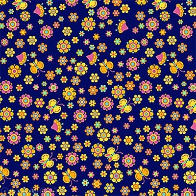 Tecido Tricoline  Estampa Floral - Coleção Dias Felizes (Fundo Marinho) - 50 cm X 150 cm