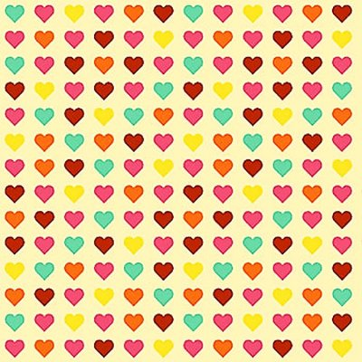 Tecido Tricoline  Estampa Corações Coloridos - Coleção Dias Felizes (Fundo Creme) - 50 cm X 150 cm