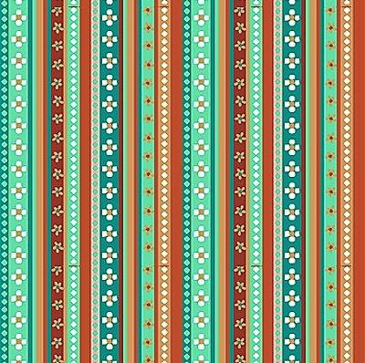 Tecido Tricoline Estampa Listrada - Coleção Los Andes - Tons de Tiffany - Preço de 50 cm x 150 cm