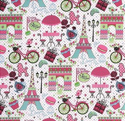 Tecido Tricoline Torre Eiffel e Paris Rosa - Fundo Branco - Preço de 50cm x 150cm