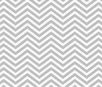 Tecido Tricoline Estampa Chevron Branco com Cinza - Preço de 50 cm x 150 cm