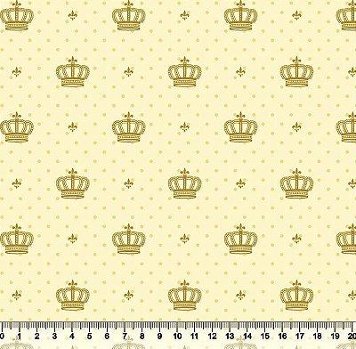 Tecido Tricoline  Estampa Coroa Dourada c/ Poá Bege e Fundo Creme - 50 cm X 150 cm
