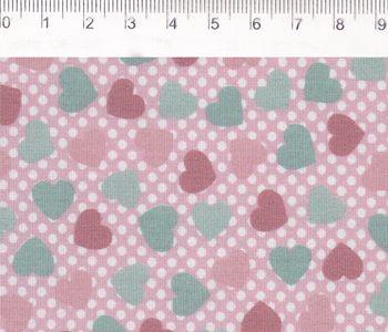 Tecido Tricoline Estampado Patch Love - Mini Coração (Fundo Rosa e Poá Branco) - Coleção Vanessa Guimarães - 50cm x 150cm