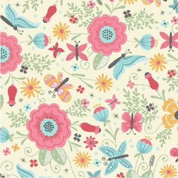Tecido Tricoline Estampa de Borboletas e Floral (Fundo Creme) - Coleção Borboletando - 45cm X 150cm