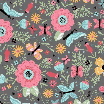 Tecido Tricoline Estampa de Borboletas e Floral (Fundo Cinza) - Coleção Borboletando - 50 cm X 150 cm