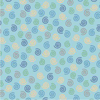 Tecido Tricoline - Estampa de Espiral Fundo Azul Claro- Coleção Monstrinhos Divertidos - Corte Mínimo 50cm x 150cm