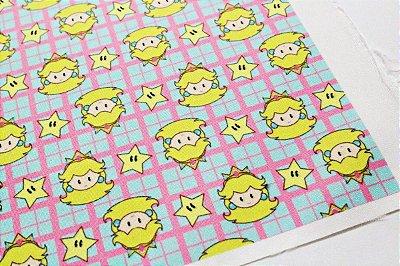 Tecido Estampa Infantil - Princesa Peach - Mario Bros. - Fundo Azul e Rosa - 100% Poliéster - (30cm x 45cm)