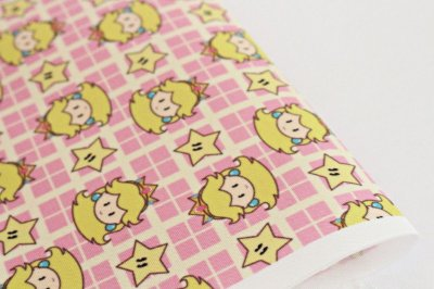 Tecido Estampa Infantil - Princesa Peach - Mario Bros. - Fundo Amarelo e Rosa - 100% Poliéster - (30cm x 45cm)