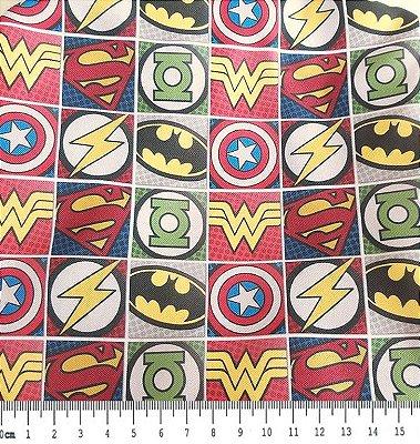 Tecido Estampa Infantil - Símbolos de Super Heróis - 100% Poliéster - (45cm x 50cm)
