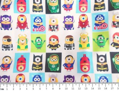 Tecido Estampa Infantil - Minions Super Heróis - 100% Poliéster - (45cm x 50cm)