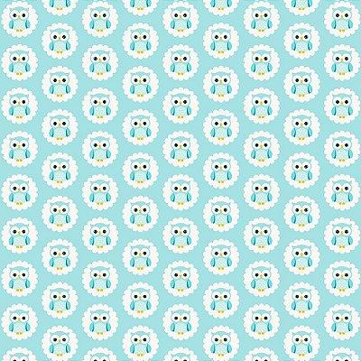 Tecido Tricoline Estampa Coruja Frederico na Nuvem - Fundo Azul - Coleção Irmãos Corujas - Corte Mínimo de 45 cm x 150cm