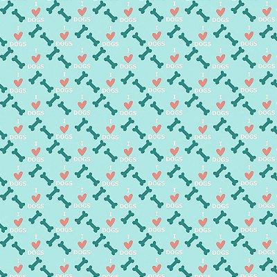 Tecido Tricoline Estampa Osso e Coração - Fundo Azul - Coleção I Love Dogs - Corte Mínimo de 50 cm x 150cm