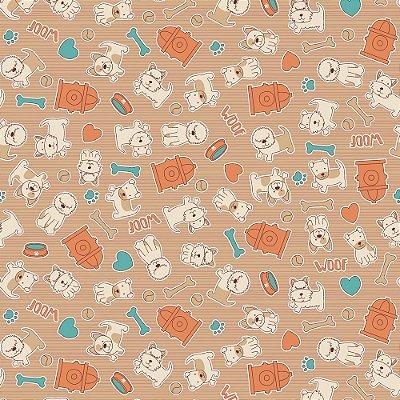 Tecido Tricoline Estampa Cachorrinho Tijolo - Fundo Tijolo - Coleção I Love Dogs - Corte Mínimo de 50 cm x 150cm