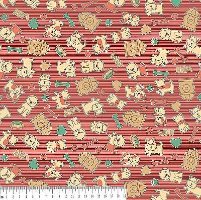 Tecido Tricoline Estampa Cachorrinho Rosa - Fundo Rosa - Coleção I Love Dogs - Corte Mínimo de 50 cm x 150cm