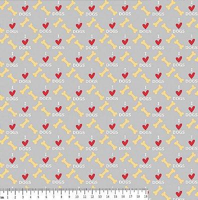 Tecido Tricoline Estampa Osso e Coração - Fundo Cinza - Coleção I Love Dogs - Corte Mínimo de 50 cm x 150cm
