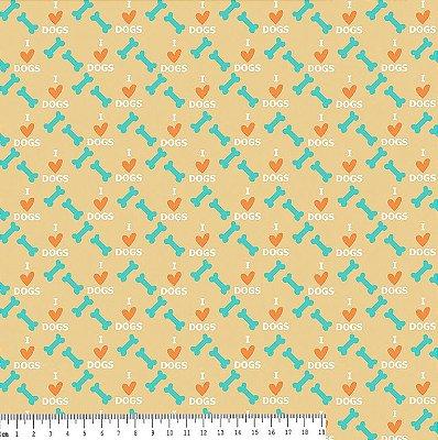 Tecido Tricoline Estampa Osso e Coração - Fundo Tijolo - Coleção I Love Dogs - Corte Mínimo de 50 cm x 150cm