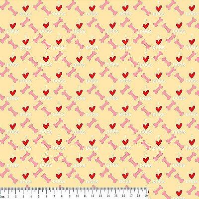 Tecido Tricoline Estampa Osso Rosa e Coração - Fundo Creme - Coleção I Love Dogs - Corte Mínimo de 50 cm x 150cm
