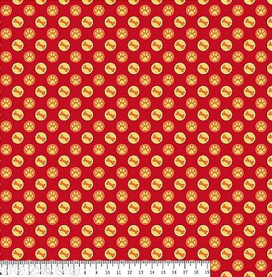 Tecido Tricoline Estampa Osso e Patinha no Círculo Creme - Fundo Rosa - Coleção I Love Dogs - Corte Mínimo de 50 cm x 150cm