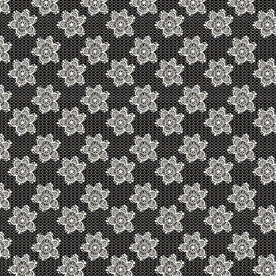 Tecido Tricoline Estampa Flores Rendadas - Fundo Preto - Coleção Jardim das Flores - Corte Mínimo de 50cm x 150cm