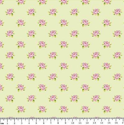 Tecido Tricoline Estampado de Mini Rosas - Fundo Verde - Coleção Shabby Chic Anita Catita - Preço de 45cm x 150cm