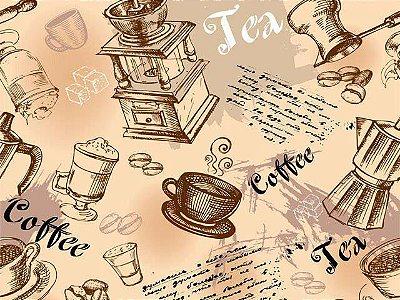 Tecido Digital - Xícara de Café, Chá e Cozinha - Fundo Bege - Corte Mínimo 50 cm x 150 cm