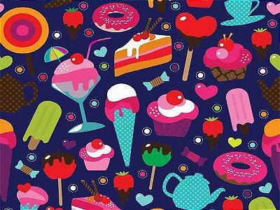 Tecido Digital - Doces, Guloseimas, Donnuts, Sorvete, Rosquinha, Muffins e Cupcake - Fundo Marinho - Corte Mínimo 50 cm x 150 cm