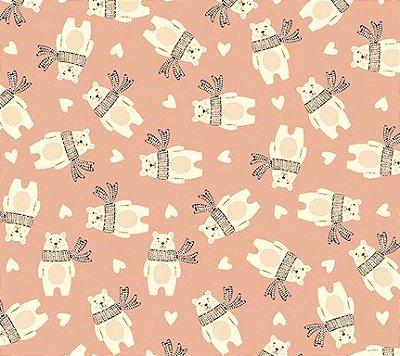 Tecido Tricoline Estampa de Urso (Fundo Rose) - Corte Mínimo 50 cm x 150 cm