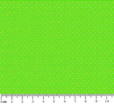 Tecido Tricoline Estampa Micro Poá Branco (Fundo Verde Kiwi) - Corte Mínimo de 50 cm x 150 cm