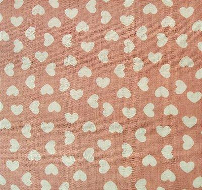 Tecido Tricoline Estampa Coração Branco (Fundo Rose) - Corte Mínimo de 50 cm x 150 cm
