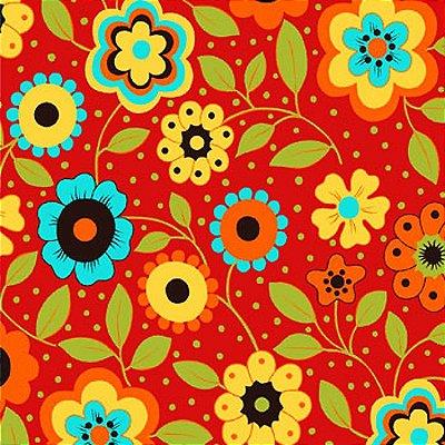 Tecido Tricoline Estampa Floral c/ Poá (Fundo Vermelho) - Coleção Alegria (50 cm X 150 cm)