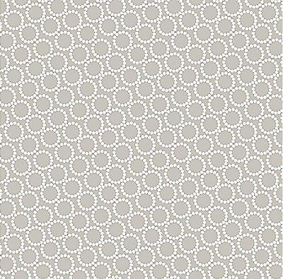 Tecido Tricoline Círculos Brancos (Fundo Cinza) - Coleção Neutro Tom Tom (50 cm x 150 cm)